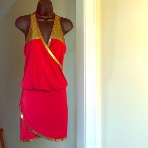 ARDEN B red gold sexy dress sz XS racerback